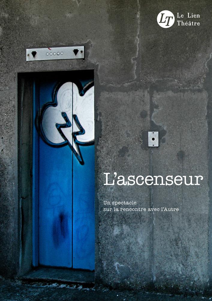 L'ascenseur, spectacle du Lien Théâtre. © Ernesto Timor (photo et graphisme).